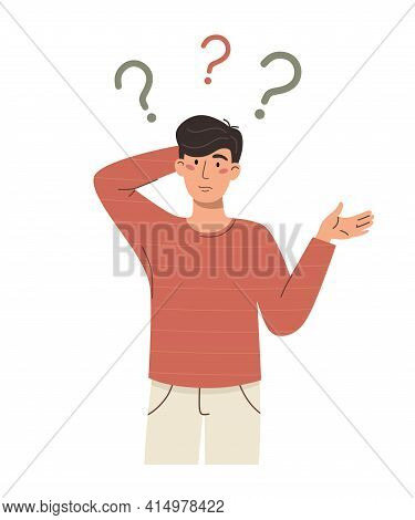 Puzzled And Thinking Man With Question Marks. Vector Character On A White Background.