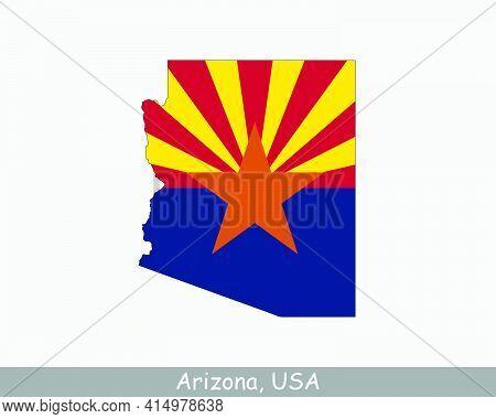 Arizona Map Flag. Map Of Arizona, Usa With The State Flag Of Arizona Isolated On White Background. U