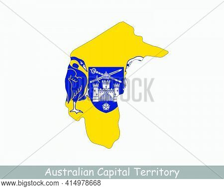 Australian Capital Territory Map Flag. Map Of Federal Capital Territory, Australia With Flag Isolate