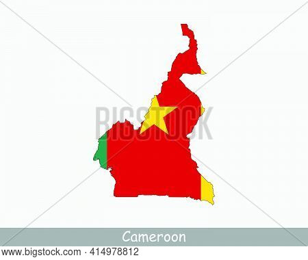 Cameroon Map Flag. Map Of Cameroon With The Cameroonian National Flag Isolated On White Background.