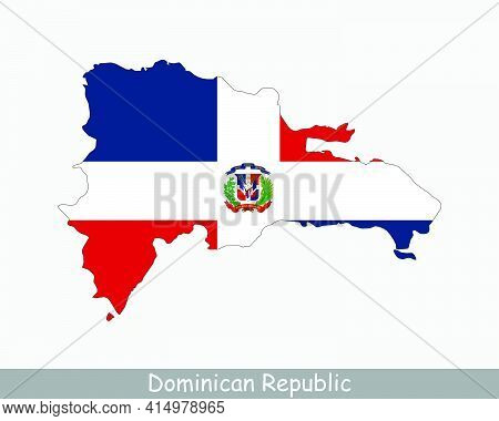 Dominican Republic Map Flag. Map Of Dominican Republic With The Dominican National Flag Isolated On
