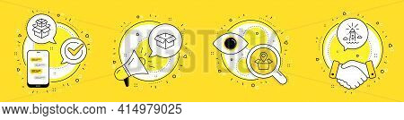 Package Location, Opened Box And Packing Boxes Line Icons Set. Cell Phone, Megaphone And Deal Vector