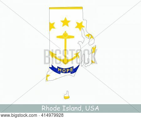 Rhode Island Map Flag. Map Of Ri, Usa With The State Flag Isolated On A White Background. United Sta