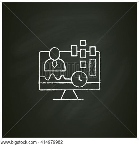 Real-time Customer Data Chalk Icon. Concentrates On Real-time Data Captured From Clients. Customer D