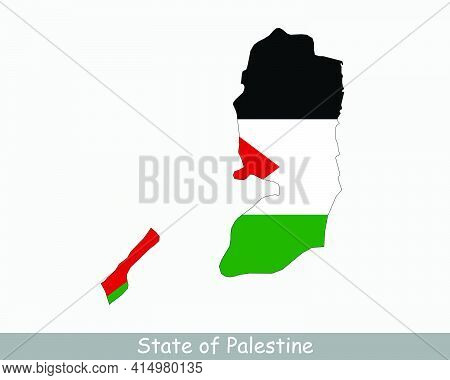Palestine Flag Map. Map Of The State Of Palestine With The Palestinian National Flag Isolated On A W