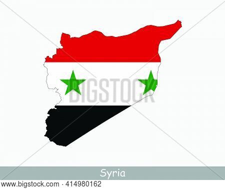 Syria Flag Map. Map Of The Syrian Arab Republic With The Syrian National Flag Isolated On A White Ba