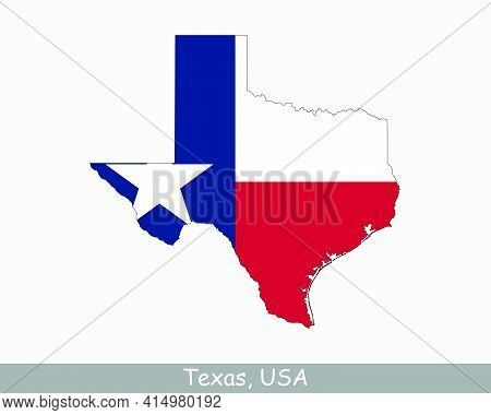 Texas Map Flag. Map Of Tx, Usa With The State Flag Isolated On A White Background. United States, Am