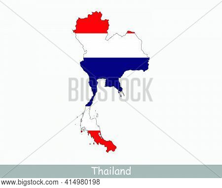Thailand Flag Map. Map Of The Kingdom Of Thailand With The Thai National Flag Isolated On A White Ba