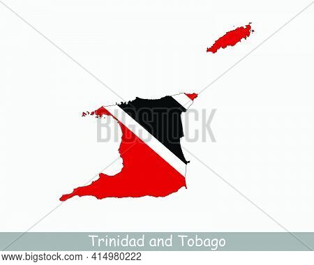 Trinidad And Tobago Flag Map. Map Of The Republic Of Trinidad And Tobago With National Flag Isolated