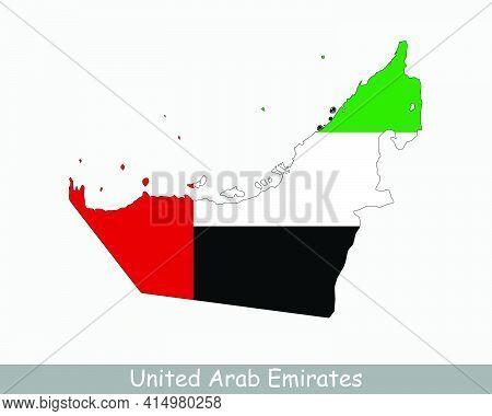 United Arab Emirates Flag Map. Map Of Uae With The Emirati National Flag Isolated On A White Backgro