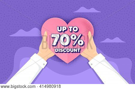 Up To 70 Percent Discount. Charity And Donate Concept. Sale Offer Price Sign. Special Offer Symbol.