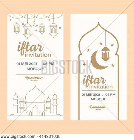 Ramadan Kareem Iftar Invitation Line Art Vector Design Template, Mosque, Moon, Lantern