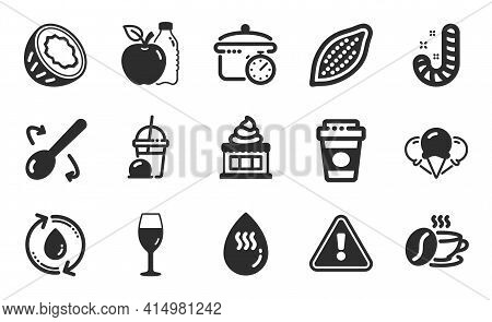 Ice Cream, Hot Water And Boiling Pan Icons Simple Set. Ice Creams, Coffee Cup And Apple Signs. Cocon