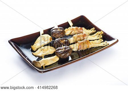 Japanese Skewered Meat With Vegetables Yakitori On White Background.