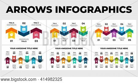 Arrows Vector Infographic. Presentation Slide Template. Chart Diagram. Up And Down Arrow Signs. 3, 4
