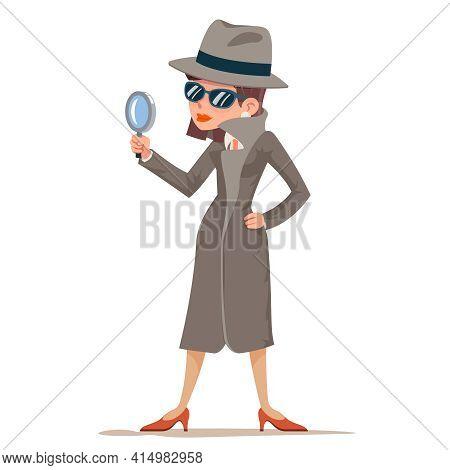 Woman Snoop Detective Tec Search Evidence Pursuit Criminal Follow The Trail Female Character Design