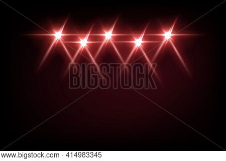 Red Light From Projectors On Black Background. Spotlight With Beams Effect On Stage Vector Illustrat
