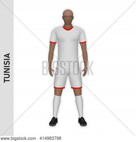 3d Realistic Soccer Player Mockup. Tunisia Football Team Kit Template Design