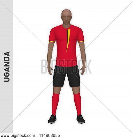 3d Realistic Soccer Player Mockup. Uganda Football Team Kit Template Design