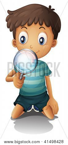 Illustration of a boy and a magnifier on a white background