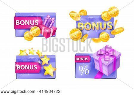 Customer Loyalty Program, Vector Gift Card Illustration Set Isolated On White, Present Box, Stars, G
