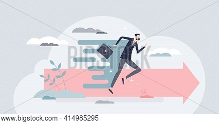 Acceleration As Businessman Fast Progress Forward Speed Tiny Person Concept
