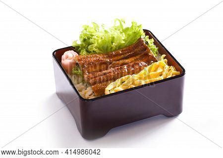 Japanese Eel Grilled With Rice Or Unagi Don On White Background.
