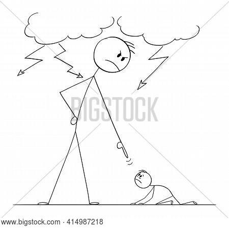 Man Oppressing Another Man Using His Power,  Cartoon Stick Figure Illustration