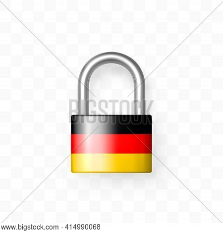 Secure Enclosed Padlock Decorated With The German Flag. Isolated Object On Checkered Background. Loc