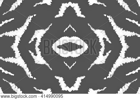 Seamless Zebra Lines. Abstract African Banner. Watercolor Wild Fur. Gray Cheetah Background. Black Z