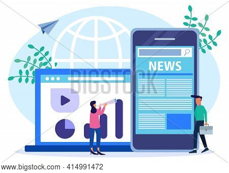 Vector Illustration. Flat Design Concept Reading Newspaper News Online, Character Of People With New