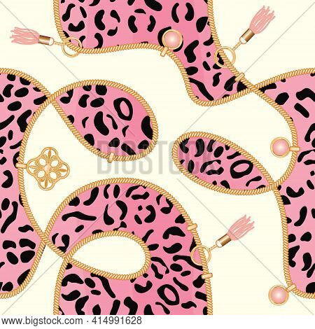 Chains Seamless Background With Pink Leopard Skin Pattern. Fashion Jewelry Print For Textile, Scarf,