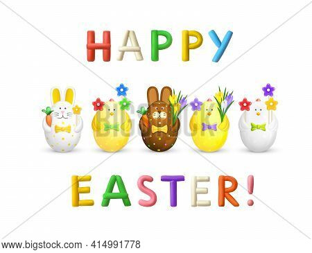 Happy Easter Greating Card. Text From 3d Colorful Plasticine Letters. Figurines Of White And Yellow