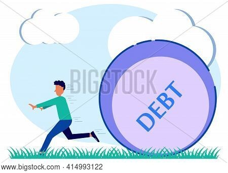 A Man Tries To Run From The Huge Debt That Continues To Chase Him. The Concept Of Credit Slavery. Ve