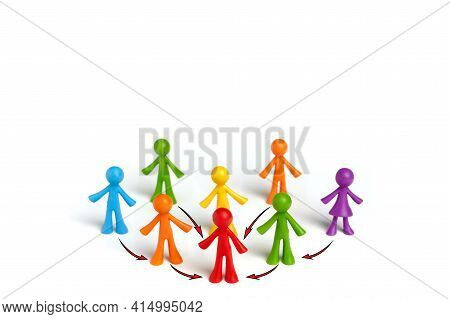 . The Concept Of A Business Team Leader Indicates The Direction Of Movement Towards The Goal. A Grou