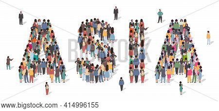 Large Group Of People Standing Together Forming Asia Word, Flat Vector Illustration. Asia Continent
