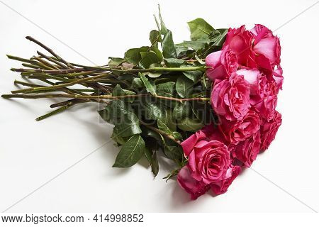 Bouquet Of Pink Roses On White Background With Copy Space