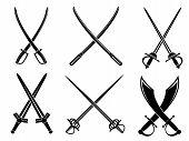 Swords, sabres and longswords set for heraldry design poster
