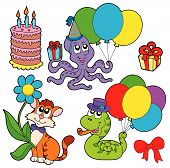 Party animals collection with related objects - vector illustration. poster