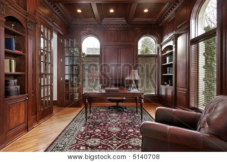 Library With Cherry Wood Paneling
