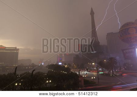 Summer Storm On Las Vegas Boulevard In Las Vegas, Nv On July 19, 2013