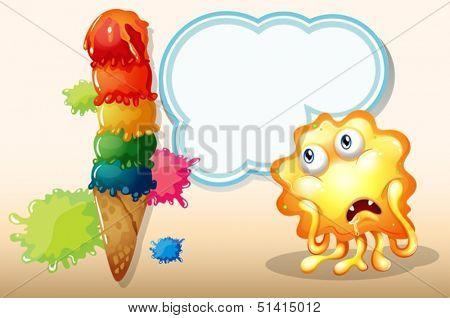 Illustration of a giant icecream beside the salivating monster