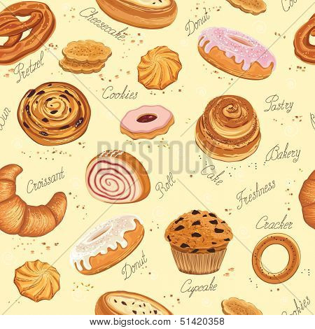 Seamless pattern with various pastries