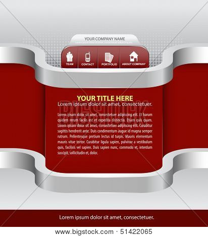 Vector abstract red background for company with icons for website, brochure, flyer and advertisement