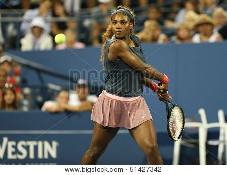 Sixteen times Grand Slam champion Serena Williams during her doubles match at US Open 2013
