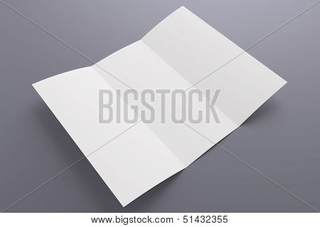 Blank Opened Tri Fold Brochure Isolated On Grey