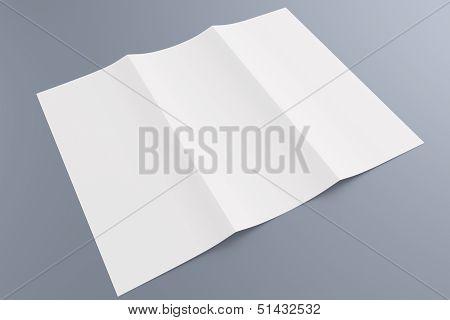 Blank Tri Fold Brochure Isolated On Grey