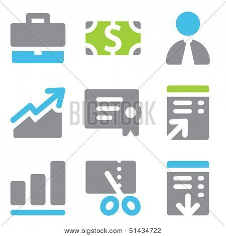Finance web icons set 1 blue green series