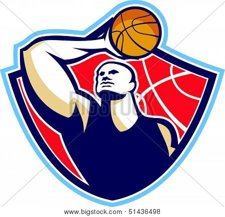 Basketball Player Rebounding Ball Retro
