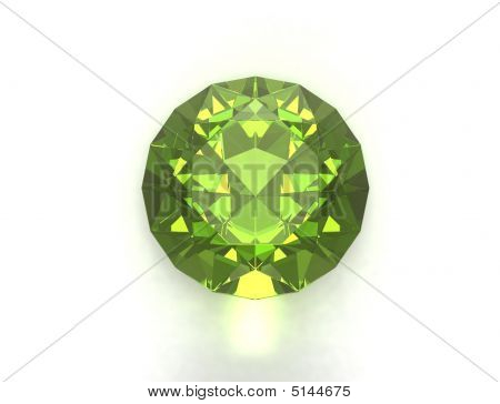 Peridot gemstone isolated on white background. Unique content for gems catalogues. poster